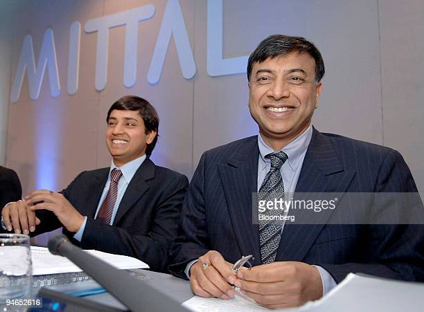 Aditya Mittal left Mittal Steel Co chief financial officer and president and Lakshmi Mittal Mittal Steel chief executive officer and chairman prepare...