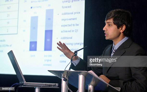 Aditya Mittal president and chief financial officer Mittal Steel Co speaks at a news conference at the Four Seasons Hotel on Park Lane London UK...