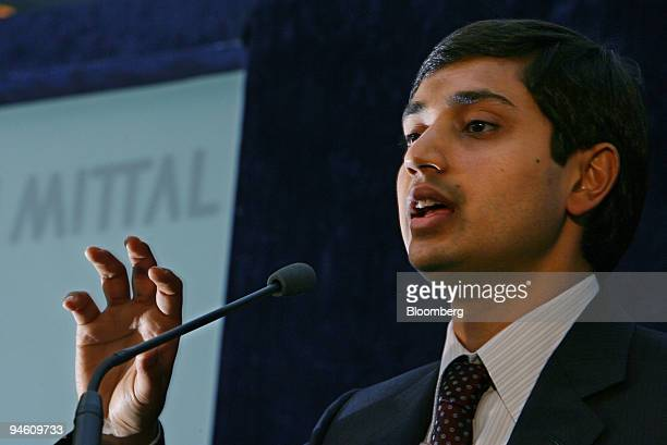 Aditya Mittal president and chief financial officer of Mittal Steel Co gives a presentation at a news conference in London June 13 2006 Mittal Steel...