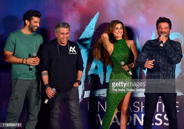 Aditya Roy Kapur Anil Kapoor and Disha Patani during the trailer launch of upcoming film Malang in Mumbai