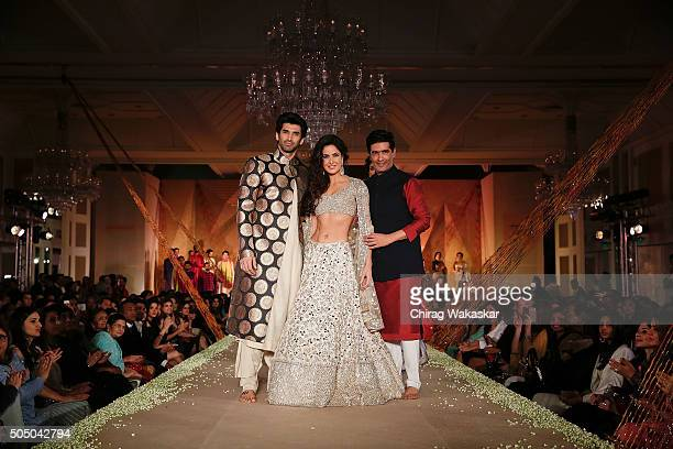 Aditya Roy Kapur Katrina Kaif and Manish Malhotra walk the runway at Regal Threads Fashion Show By Manish Malhotra at Trident Hotel on January 14...