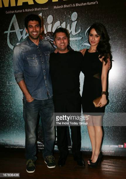 Aditya Roy Kapur Shraddha Kapoor and Mohit Suri at the success party of Aashiqui 2 on 30th April 2013 in Mumbai
