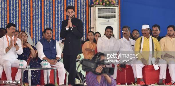 Aditya Thackeray during the swearing in ceremony for Maharashtra cabinet expansion at Vidhan Bhavan on December 30 2019 in Mumbai India Maharashtra...