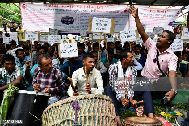Adivasi National Convention stage a protest demanding ST status on Wednesday in Guwahati Assam India on 12 September 2018