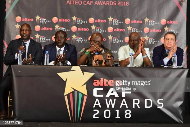 Adjoint SecretaryGeneral of The African Football Federation Anthony Baffoe gestures as he addresses a press conference alongside the first...