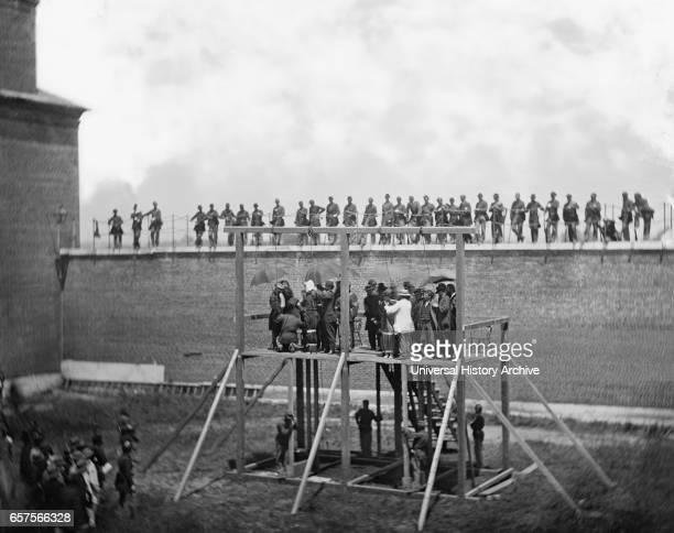 Adjusting Ropes on Scaffold of Conspirators of Assassination of US President Abraham Lincoln Arsenal Prison Washington DC USA by Alexander Gardner...