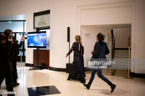 Adèle Haenel leaves the Salle Pleyel after the award for best director was given to Roman Polanski During the Cesar Film Awards 2020 Ceremony At...