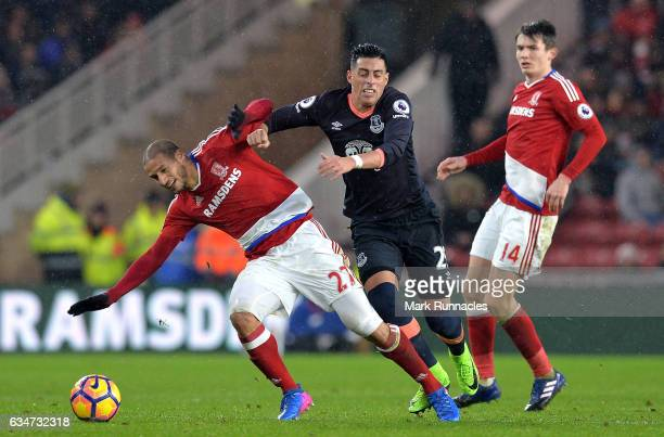 Adlene Guedioura of Middlesbrough and Ramiro Funes Mori of Everton compete for the ball during the Premier League match between Middlesbrough and...