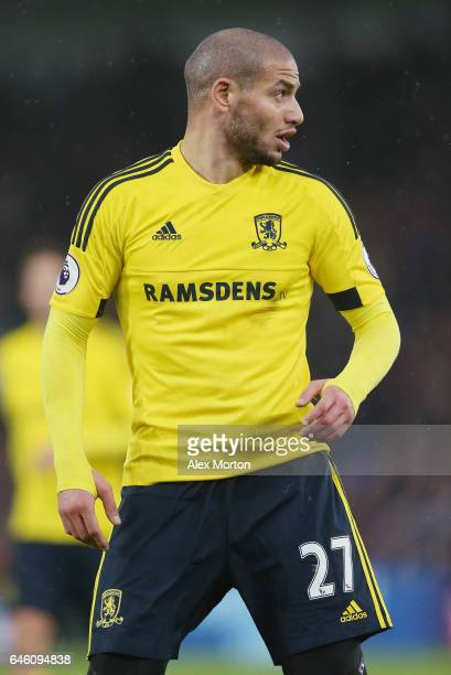Adlene Guedioura of Middlesbrough during the Premier League match between Crystal Palace and Middlesbrough at Selhurst Park on February 25 2017 in...