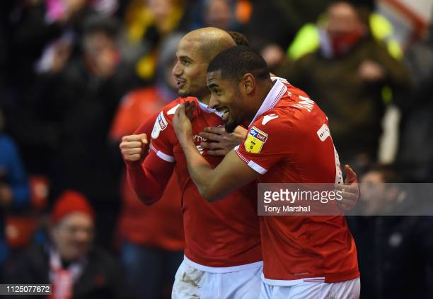 Adlene Guedioura of Nottingham Forest celebrates after scoring his team's third goal with team mate Saidy Janko during the Sky Bet Championship match...