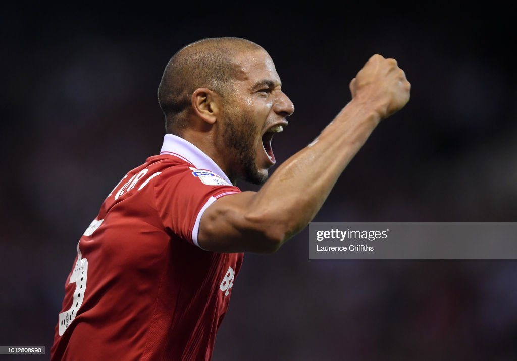 Adlene Guedioura of Nottingham Forest celebrates scoring the opening goal during the Sky Bet Championship match between Nottingham Forest and West Bromwich Albion at City Ground on August 7, 2018 in Nottingham, England.