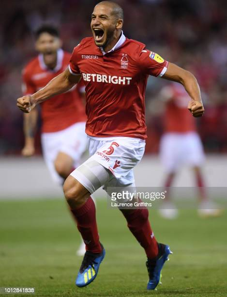 Adlene Guedioura of Nottingham Forest celebrates scoring the opening goal during the Sky Bet Championship match between Nottingham Forest and West...
