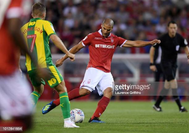 Adlene Guedioura of Nottingham Forest scores the opening goal during the Sky Bet Championship match between Nottingham Forest and West Bromwich...
