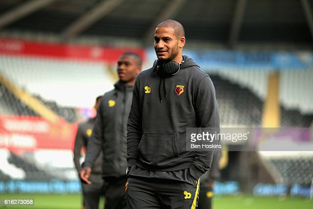 Adlene Guedioura of Watford arrives at the stadiium prior to kick off during the Premier League match between Swansea City and Watford at the Liberty...