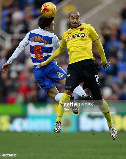 Adlene Guedioura of Watford battles for an aerial ball with Oliver Norwood of Reading during the Sky Bet Championship match between Reading and...