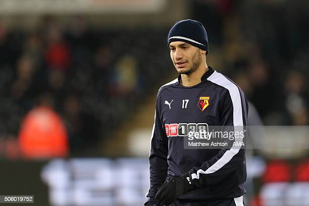 Adlene Guedioura of Watford during the Barclays Premier League match between Swansea City and Watford at the Liberty Stadium on January 18 2016 in...
