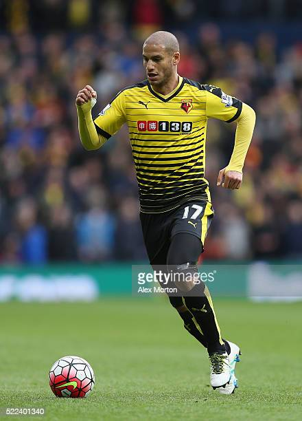 Adlene Guedioura of Watford during the Barclays Premier League match between West Bromwich Albion and Watford at The Hawthorns on April 16 2016 in...