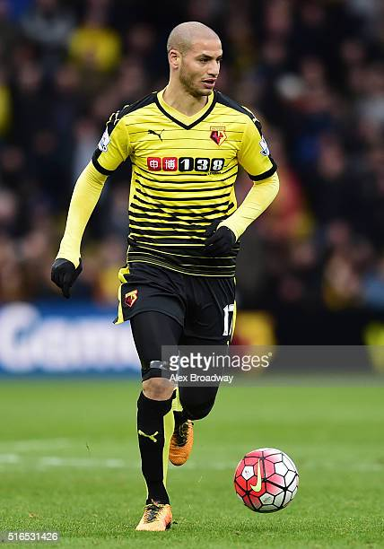 Adlene Guedioura of Watford in action during the Barclays Premier League match between Watford and Stoke City at Vicarage Road on March 19 2016 in...