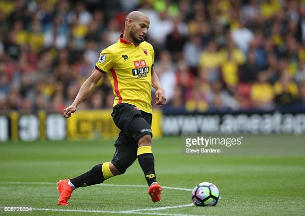 Adlene Guedioura of Watford in action during the Premier League match between Watford and Chelsea at Vicarage Road on August 20 2016 in Watford...