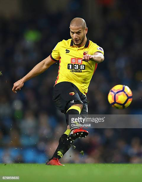 Adlene Guedioura of Watford in action during the Premier League match between Manchester City and Watford at Etihad Stadium on December 14 2016 in...