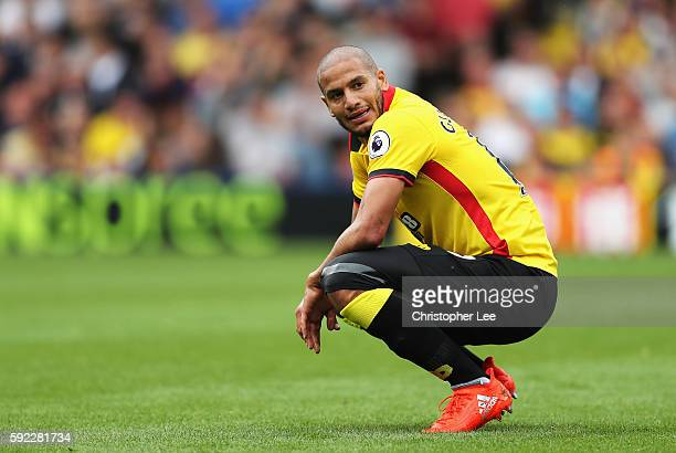 Adlene Guedioura of Watford reacts during the Premier League match between Watford and Chelsea at Vicarage Road on August 20 2016 in Watford England