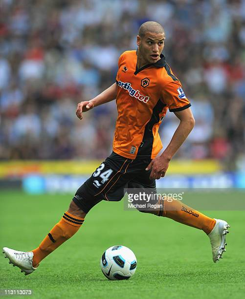 Adlene Guedioura of Wolves on the ball during the Barclays Premier League match between Wolverhampton Wanderers and Fulham at Molineux on April 23...