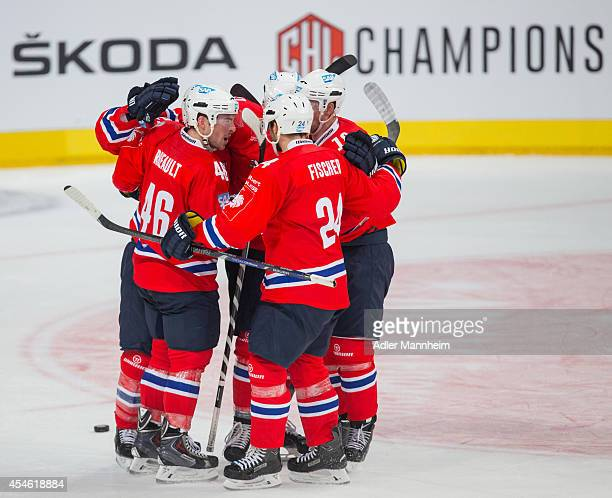 Adler celebrate the first goal during the Champions Hockey League group stage game between Adler Mannheim and KalPa Kuopio on September 4 2014 in...