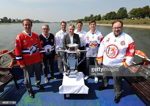 Adler Mannheim CEO Daniel Hopp, CEO Peter John Lee of the Eisbaeren Berlin, Herberts Vasiljevs of Krefeld Pinguine, CHL CEO Martin Baumann, CEO Claus...