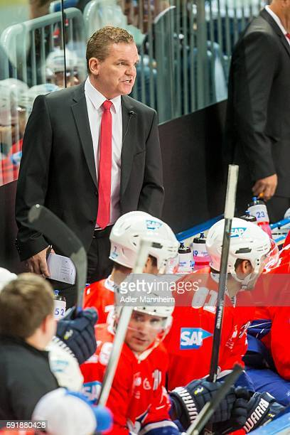 Adler Trainer Sean Simpson reacts from the bench during the Champions Hockey League match between Adler Mannheim and HC Lugano at SAP on August 18...