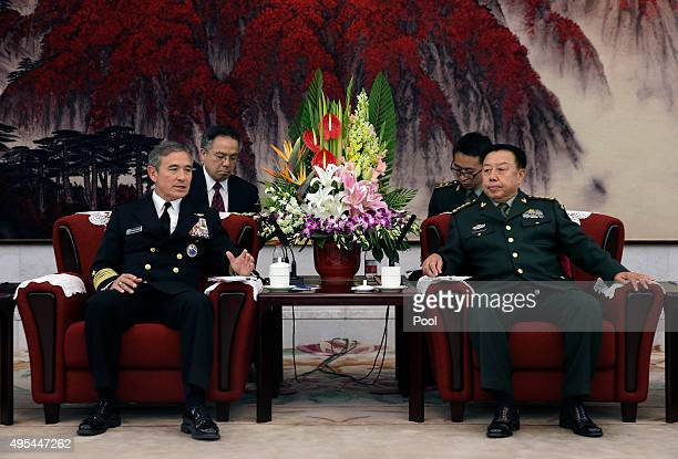 Adm Harry B Harris Jr US Navy Commander US Pacific Command left speaks during a meeting with Fan Changlong vicechairman of China's Central Military...