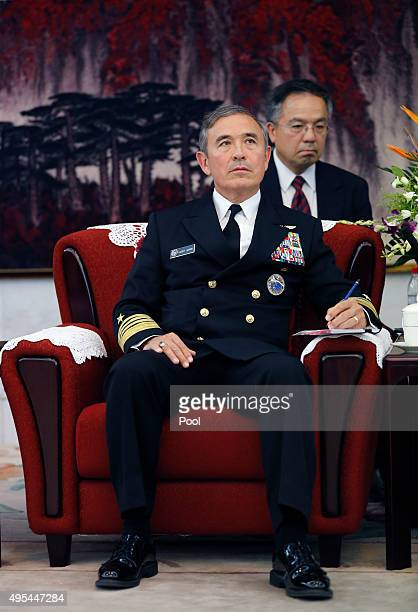 Adm Harry B Harris Jr US Navy Commander US Pacific Command looks during a meeting with Fan Changlong vicechairman of China's Central Military...