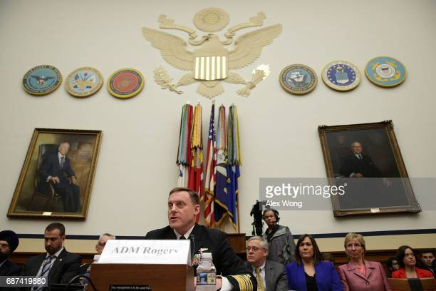Adm Michael Rogers Director of National Security Agency and Commander of the US Cyber Command testifies during a hearing before the Emerging Threats...