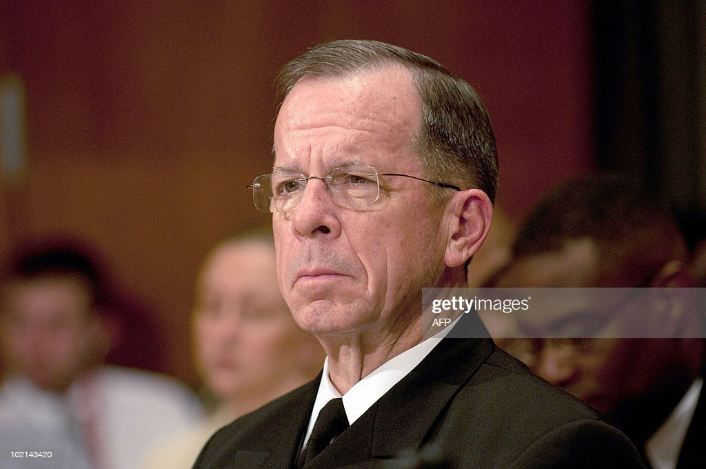 US Adm. Mike Mullen Chairman of the Joint Chiefs of Staff appears before aSenate Appropriations Committee hearing on the proposed budget estimates for FY2011 for the Defense Department, in the Dirksen Senate Office Building on Capitol Hill in Washington, DC, June 16, 2010.
