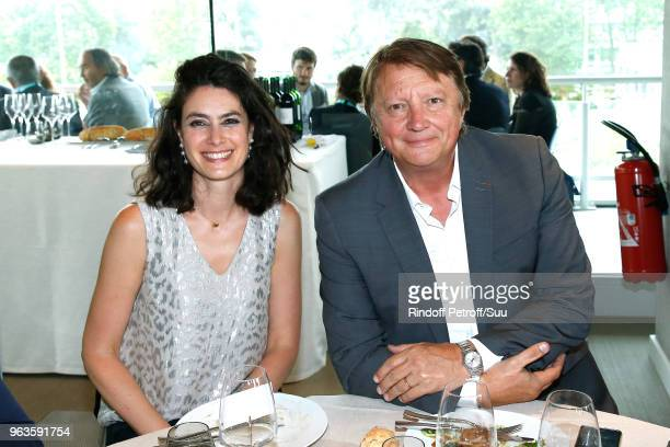 Administrative and Financial Director at France Television Irene Grenet and journalist Lionel Chamoulaud attend the 'France Television' Lunch during...
