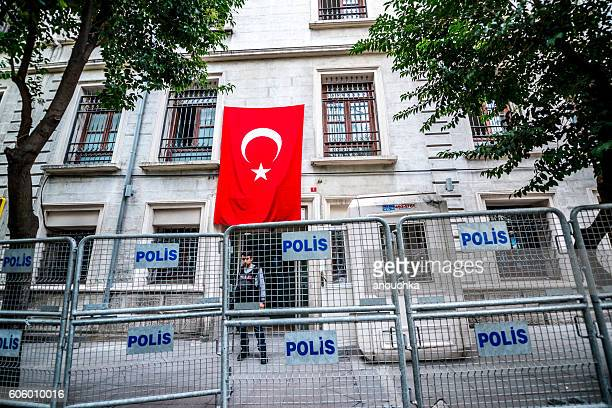Administrative building behind police fence, Istanbul, Turkey