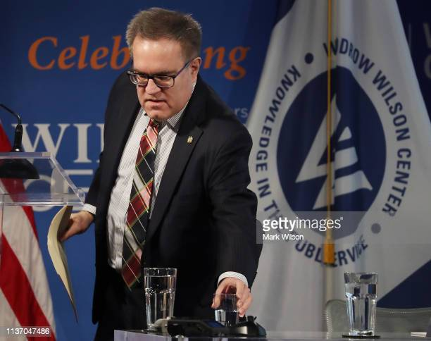 Administrator Andrew Wheeler is introduced to speak during a discussion on implementing the US global water strategy at the Woodrow Wilson Center on...