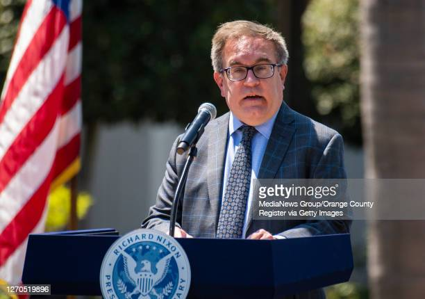 Administrator Andrew Wheeler outlines his agency's priorities if Trump wins a second term during a speech at The Richard Nixon Library and Museum in...
