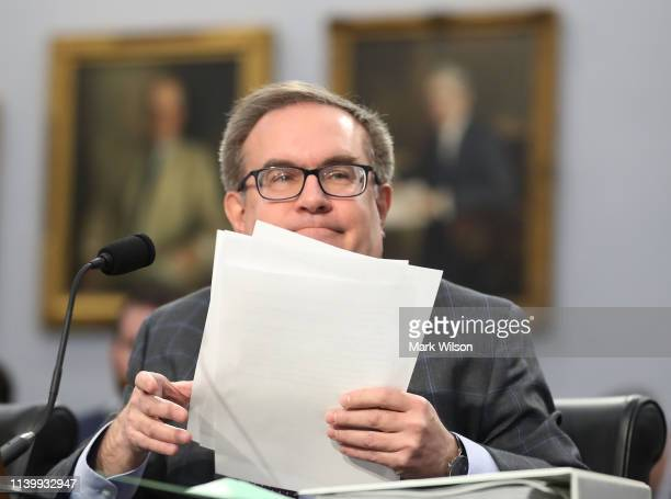Administrator Andrew Wheeler testifies during a House Appropriations Subcommittee hearing regarding President Donald Trump's FY2020 budget for the...