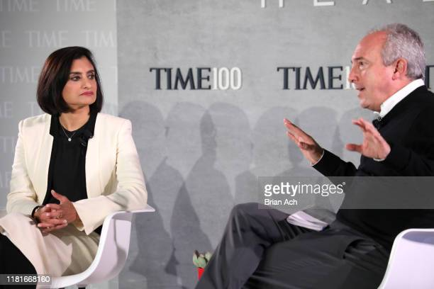 Administrator at Centers for Medicare Medicaid Seema Verma and TIME 100 Health Summit CoChair Dr David Agus speak onstage during the TIME 100 Health...