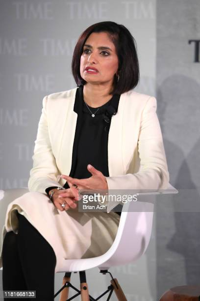 Administrator at Centers for Medicare Medicaid Seema Verma speaks onstage during the TIME 100 Health Summit at Pier 17 on October 17 2019 in New York...