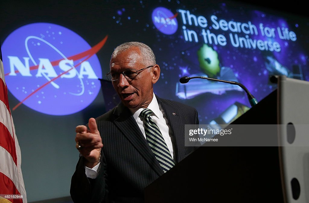 Administrator Charles Bolden speaks at a press conference while discussing 'the scientific and technological roadmap that will lead to the discovery of potentially habitable worlds among the stars' July 14, 2014 in Washington, DC. Most prominent among the methods NASA will search the universe for habitable exoplanets will be the deployment of the James Webb Space Telescope, with a mirror of 21 feet, scheduled to be launched in 2018.
