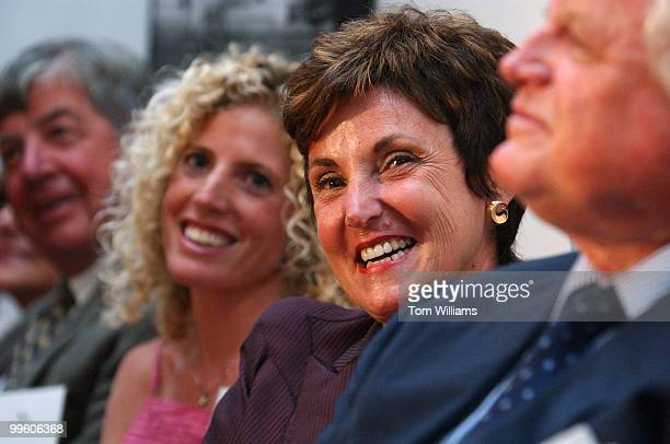 Administrator Jane Garvey sits with Sen Ted Kennedy DMass and her daughter Kelly Garvey at reception in Hart Senate Office Building in Washington DC...