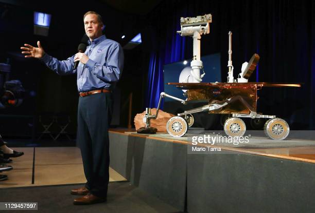 Administrator Jim Bridenstine speaks at a press conference announcing the conclusion of the rover Opportunity mission on February 13 2019 in Pasadena...
