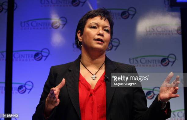 Administrator Lisa P Jackson addresses the audience at the US Center during the third day of the United Nations Climate Change Conference 2009 on...