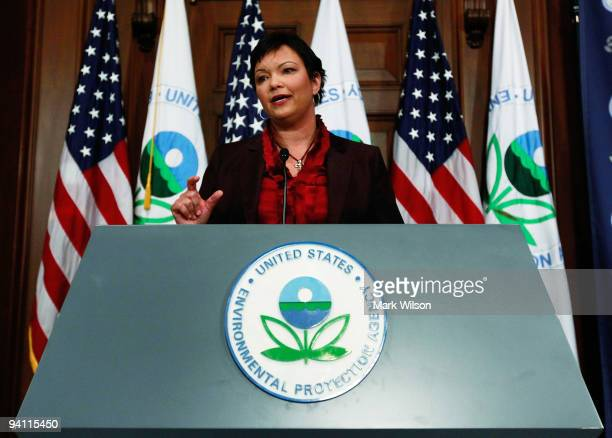 Administrator Lisa P Jackson speaks during a news conference on greenhouse gases at the Environmental Protection Agency headquarters on December 7...