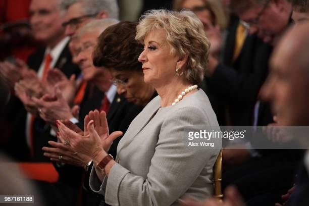 Administrator of Small Business Administration Linda McMahon , attends an event at the East Room of the White House June 29, 2018 in Washington, DC....