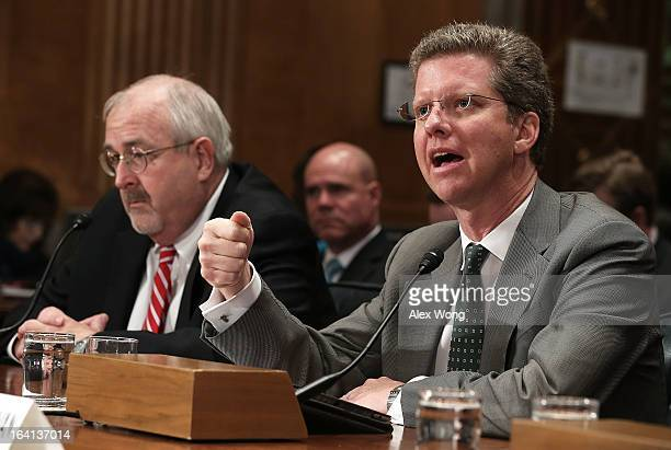 Administrator of the Federal Emergency Management Agency Craig Fugate and US Housing and Urban Development Secretary Shaun Donovan testify during a...