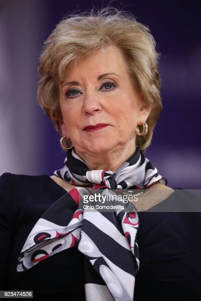 Administrator of the Small Business Administration Linda McMahon participates in a discussion during the Conservative Political Action Conference at...