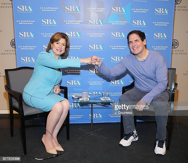 Administrator of the US Small Business Administration Maria ContrerasSweet and investor/media personality Mark Cuban pose for a photo on Day 2 of...