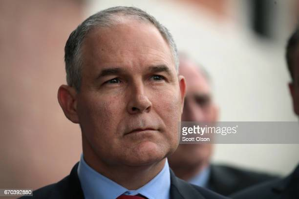 Administrator Scott Pruitt makes a statement to the media after meeting residents from and taking a brief tour of the West Calumet Housing Complex on...